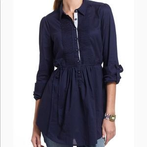 Anthro HD in Paris | Navy Fan Folds Tunic Blouse